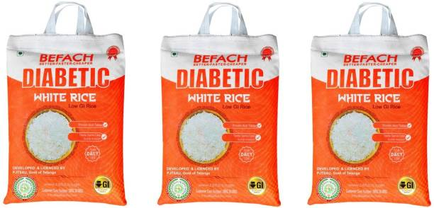 Befach Diabetic Friendly / Low Glycemic (GI) Index (pack of 3)) Sona Masoori Rice (Medium Grain, Polished)