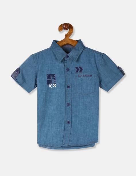 CHEROKEE Boys Printed Casual Blue Shirt