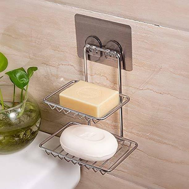 Neroxa 2 Layer Stainless Steel Soap Dish Storage Organizer Holder Self-Adhesive Waterproof Kitchen Bathroom Soaps Wall Rack Stand for washbasin no Drill Space Saver soap Holder Self For Home