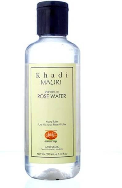 Khadi Mauri Herbal Rose Water - Skin Toner & Natural Cleanser Gulab Jal, 210 ml Men & Women