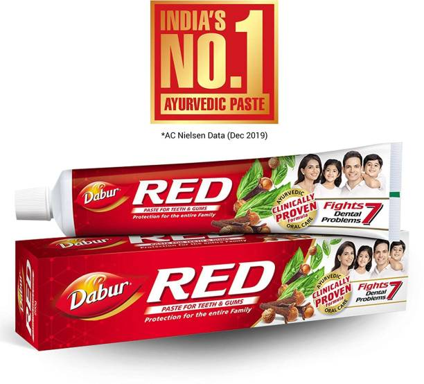 Dabur RED PASTE FOR TEETH AND GUMS 200 GM 100 GM FREE TOOTH BRUSH Toothpaste