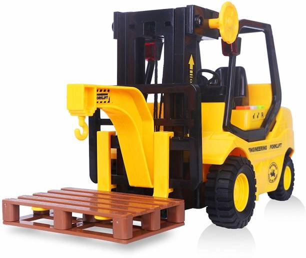 Kaizen Enterprises Friction Powered Forklift Truck Toy 1:16 Scale Smart City Fork Lift Truck with Light & Sound Effects with Manual Lift Control (Colour May Vary)
