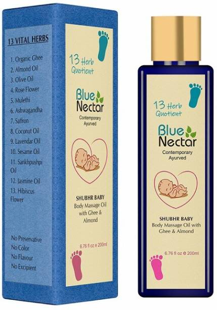 Blue Nectar Ayurvedic Baby Massage Oil with Organic Ghee, Almond Oil & Vitamin E for Healthy Babies (200ml)
