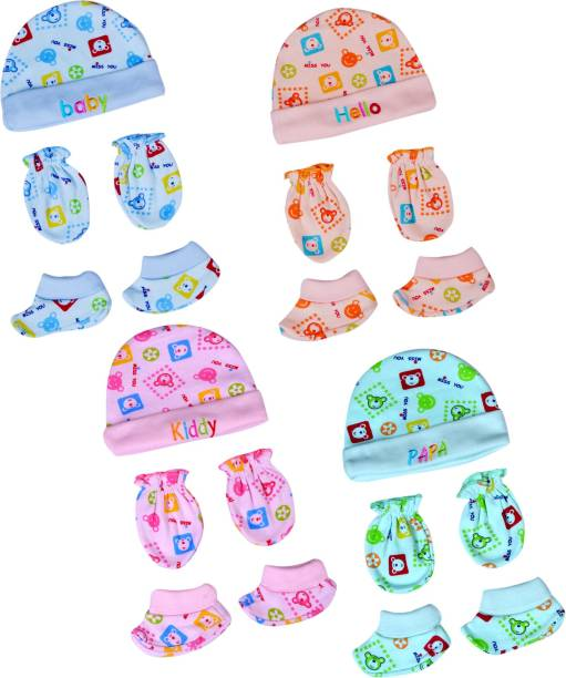 PIKIPOO Baby Cap and Mittens / Gloves Booties Combo Set for baby girls and boys Gift set