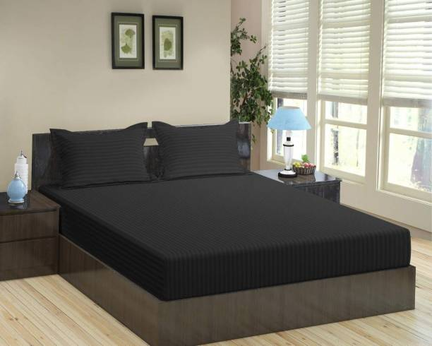 Impeccable Home 260 TC Satin Double King Striped Bedsheet