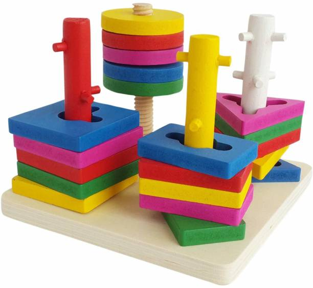 ZZ ZONEX Wooden Intellectual Geometric Shape Matching Five Column Blocks Early Educational & Learning Toys ,Wooden Geometric Shape Sorter Puzzle