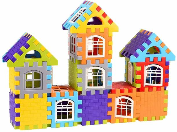 KHUSH Building Blocks for Kids – 50 Pcs, Big Size House Building Blocks with Windows, Block Game for Kids -Multicolor