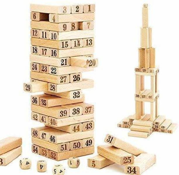 HALLSTATT Zenga Wooden Blocks, Tumbling Tower, Challenging Wooden Blocks Stacking and Balancing Building Block Game Toy with 4 Dice for Kids & Adults (51 Pcs) Kid's Wood Jenga Blocks Early Education Family Interaction Creative Intelligent Game zinga game