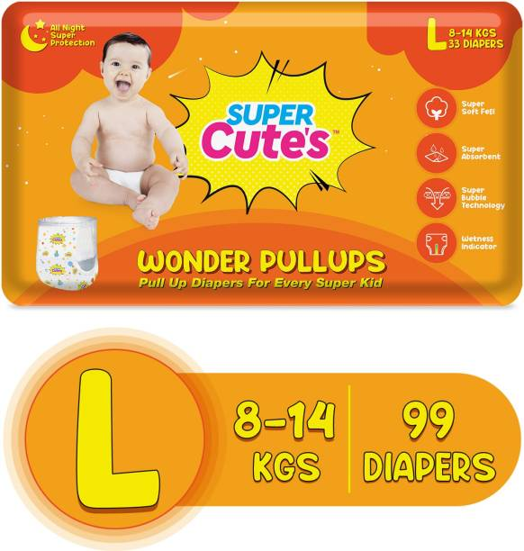 Super Cute's | Wonder Pullups | Pant Style Premium Diaper with wetness Indicator | For Superior Absorption - L