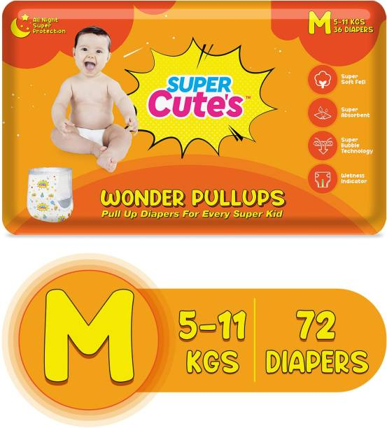 Super Cute's | Wonder Pullups | Pant Style Premium Diaper with wetness Indicator | For Superior Absorption - M