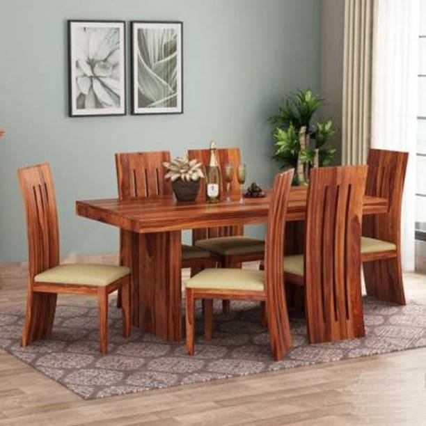 Taskwood Furniture Sheesham Wood/ Solid Wood Six Seater Dining Table Set With Six Chairs For Dining Room/ Kitchen Furniture Cushion- Cream Solid Wood 6 Seater Dining Set