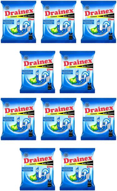 Drainex pack of 10 Caster drain cleaner Powder Drain Opener