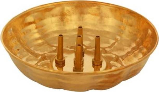 Bekner Brass Agarbatti Stand plate with Ash catcher Incense Holder Brass Incense Holder Brass Incense Holder