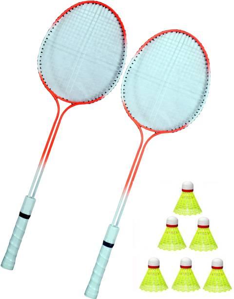 Shivgan Double Power Badminton Racquet Set Of 2 Piece With 6 Piece Nylon Shuttle Badminton Kit Badminton Kit