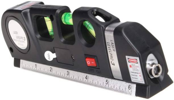 Inditrust Latest Digital Distance Laser Level Meter Pro 3 Leveller Measure 8FT Aligner Ruler Area Black 2 Line Measuring Tape Measurement Tool Device Instrument Professional Horizontal Vertical Non-magnetic Line Level
