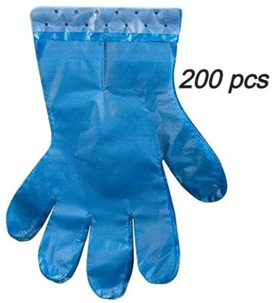 Black Bunny gloves Wet And Dry High-Density Multi-Purpose Clear Transparent Eco-Friendly Disposable Plastic Polyethylene Cooking, Cleaning, Kitchen Food Handling Hand Gloves Set (L Size) Wet and Dry Disposable Glove Set (L Size Pack of 200 pcs blue multipurpose gloves) Latex Surgical Gloves