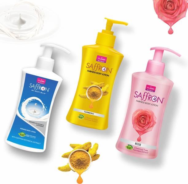 VI-JOHN Body Lotion Combo of 3 | 250 ml Each | For Men and Women | All Skin Types | Turmeric | Rose | Body Milk