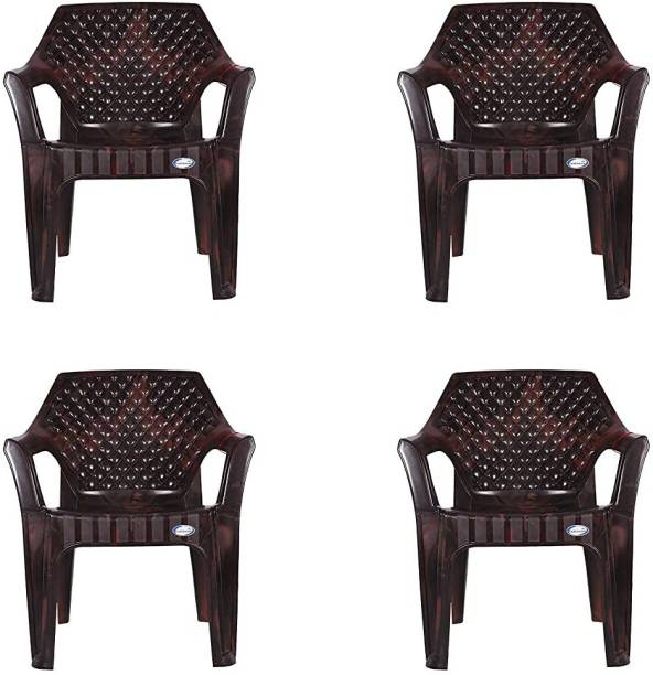 national plastic NPPL Plastic Chair for Home & Office Weight-Bearing Capacity 150 kg (Pack of 4, Rose Brown) Plastic Outdoor Chair