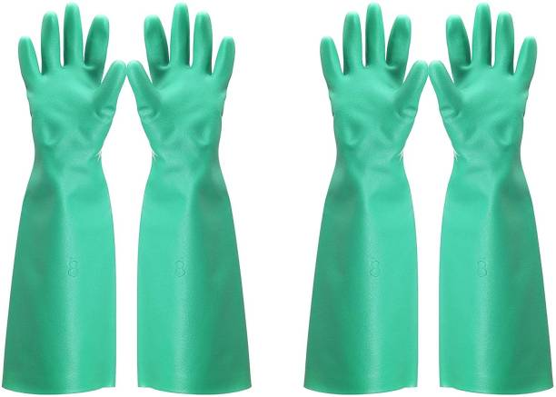 F8WARES Nitrile 14 inches Long Reusable Hand Gloves for Household Cleaning Dishwashing Gardening, Industrial, Chemical Resistant Size XL Nitrile Safety Gloves (2) Nitrile  Safety Gloves