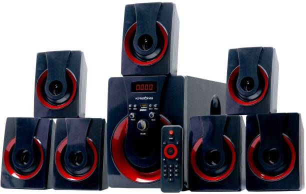 KRISONS Red blast 7.1 Multimedia Speaker |App Controlled, Bluetooth Supporting Home Theatre 7.1 | USB, AUX, LCD Display, Built-in FM, Recording, Remote Control 30 W Home Theatre