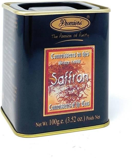 Premiers Saffron Flavoured Tea | 50 Cups | 100 Grams | PMSS Loose Leaf Tea Saffron Tea Tin