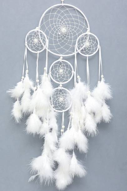 Tejash enterprises Feather Dream Catcher Wall Hanging 60 cm white Wool Dream Catcher