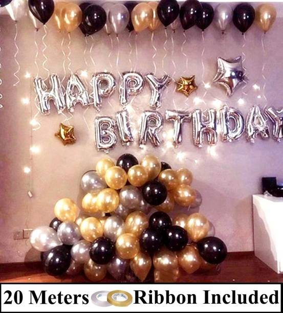 DECOR MY PARTY Solid Happy Birthday Silver Letter Foil Balloons Combo With Metallic Balloon & Curling Ribbon For Birthday Party Decoration Letter Balloon