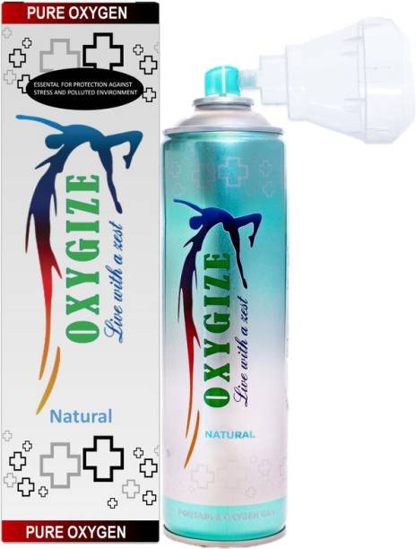 oxygize Portable Natural Flavour Oxygen Can Cylinder Canister With Protective Mask For Air Pollution Protect, Quick Recovery, Boosting Immune System, Easy To Carry (150 Breaths Approx.) Portable Oxygen Can