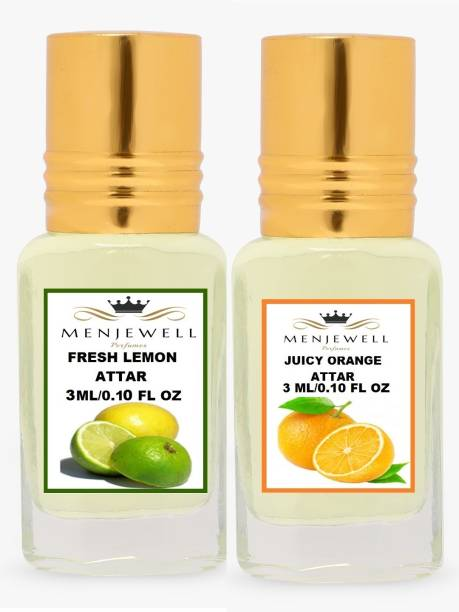 Menjewell Pack of 2Pc Attar ( Fresh Lemon 3ml,Juicy Orange 3ml )Natural Itra/Attar/ 6ML Herbal Attar