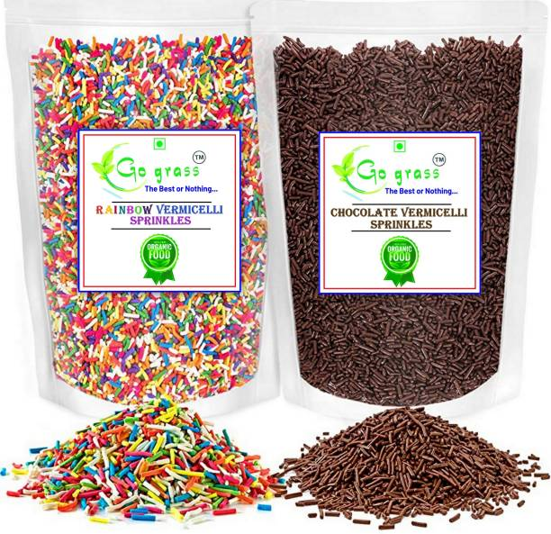 GO GRASS Combo of (Rainbow & Chocolate) Vermicelli Topping 150 + 150 GRAM EACH ( Pack of 2 ) Sprinkles