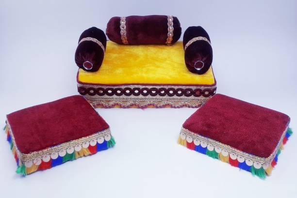 R D Handicraft Thakur ji Singhasan, Laddu Gopal Singhasan, Laxmi Ganesh Chowki Silk All Purpose Chowki