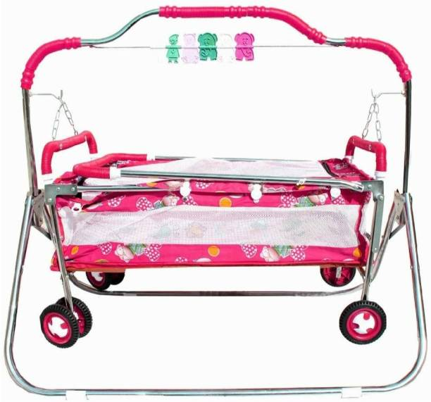 Style STAINLESS STEEL HEAVY SWING CRADLE BASSINET JHULA FOR NEWBORN BABY WITH MOSQUITO NET AND WHEELS Bassinet