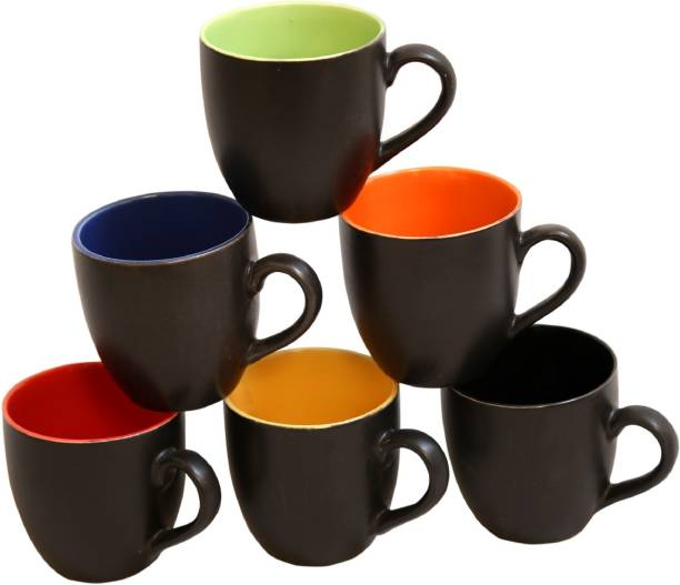 Pehal Mart Pack of 6 Ceramic Black Multicolour Ceramic Tea Cup 130 ml, Set Of 6