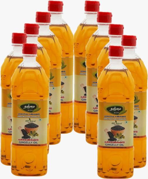 Thanjai Organic Gingelly Oil 10000ml ( 1Lr X 10 ) Sesame Oil Unrefined Wooden Cold Pressed Natural oil for Cooking Sesame Oil Plastic Bottle