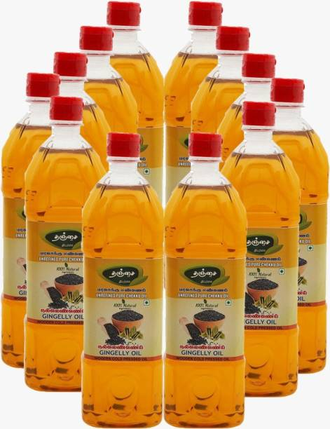 Thanjai Organic Gingelly Oil 12000ml ( 1Lr X 12 ) Sesame Oil Unrefined Wooden Cold Pressed Natural oil for Cooking Sesame Oil Plastic Bottle