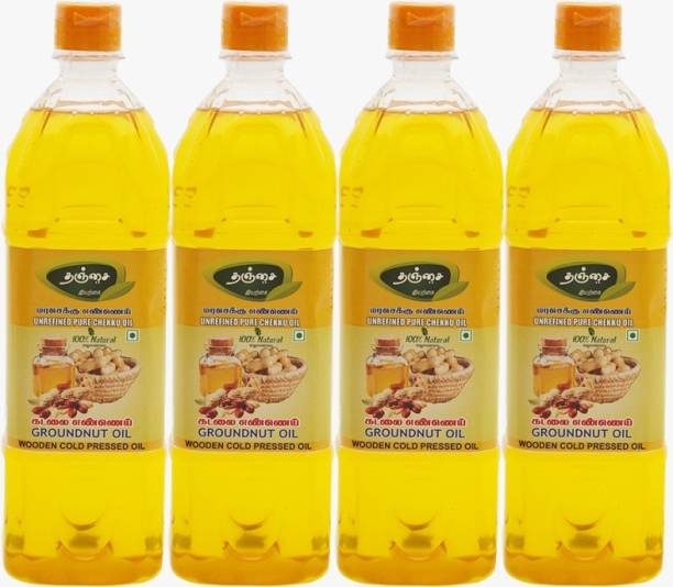 THANJAI NATURAL Groundnut Oil ( 1Lr X 4 ) Virgin Unrefined Wooden Cold Pressed Groundnut Oil/Natural Peanut Oil for Cooking- Heart Health + Cholesterol Free + No Preservatives Groundnut Oil Plastic Bottle