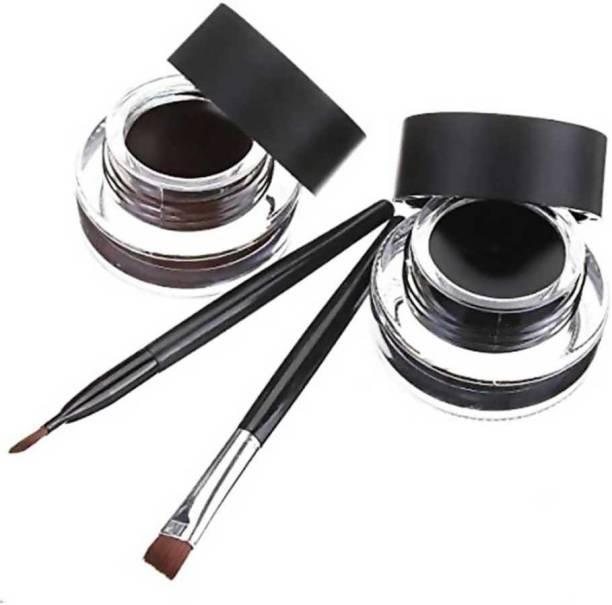 Flemmi 2 in 1 Black & Brown Water Proof & Smudge Proof 24hrs Gel Eyeliner 6 g