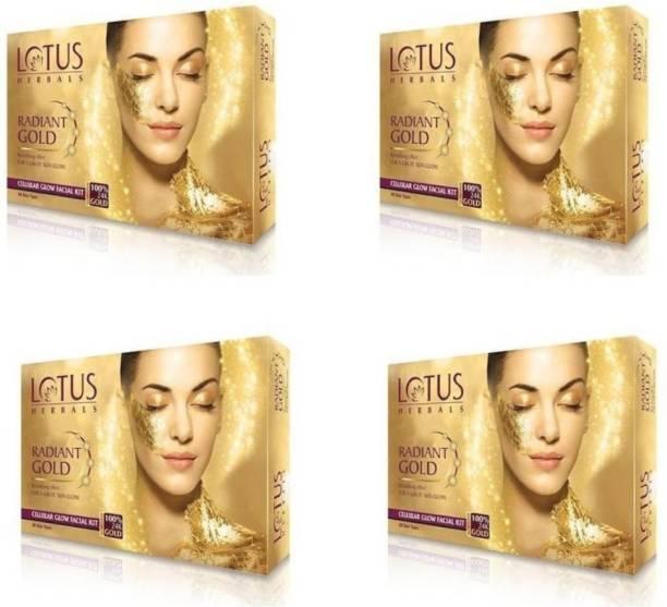LOTUS HERBALS Radiant Gold Cellular Glow Facial Kit (37g*4=148g)