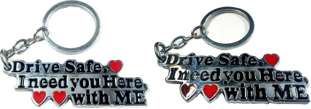 eweft Drive Safe Combo of 2 Keychain Exclusive Metal Keychain For Lovers\ Best friends Key Chain Drive Safe I Need You here with me Key Chain