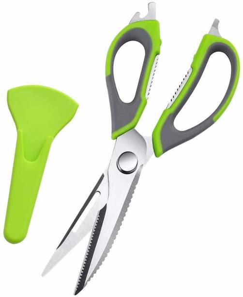 KitchenFest 7 in 1 Multi-Purpose Kitchen Scissors for Meats, Herbs, Vegetables & Pastries | Multifunctional Scissors with Protective Case, Nut Cracker & Bottle Opener Stainless Steel All-Purpose Scissor