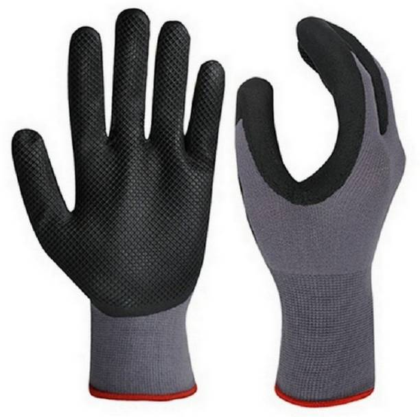 RBGIIT Washable Reusable Plam And Finger Safety Hevay Rubber Cotted Non Cutting Cut Restitance Chemical Shock Water Heat Proof Contruction Factory Indrustry Worker Driving Kitchen Painting Carpentar Steel Facotry Worker Wooden Loded Worker RBJHN160 Nylon  Safety Gloves