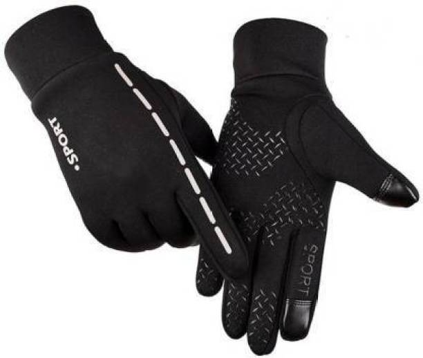 zaysoo Waterproof Winter Outdoor Gloves Athletic Touch Screen Gloves (White,Black) Riding Gloves