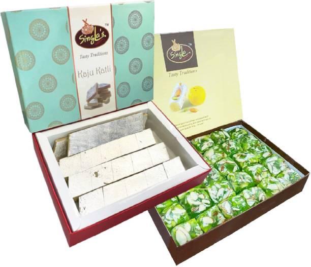 Singla Kaju Katli Burfi 400g Karachi Halwa (Green ) 400g Combo ( Pack of 2*400, 800) Box