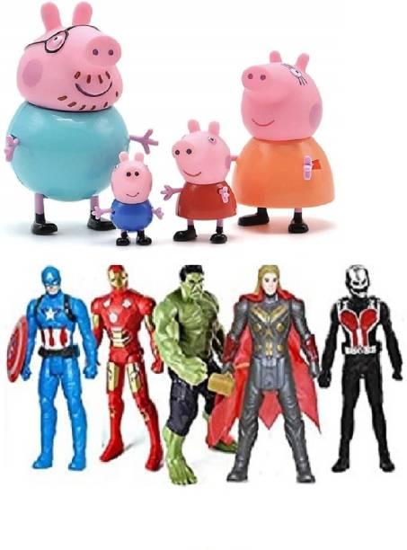 MGT CREATION Pig Family + Avengers Toy Set - 2Pcs