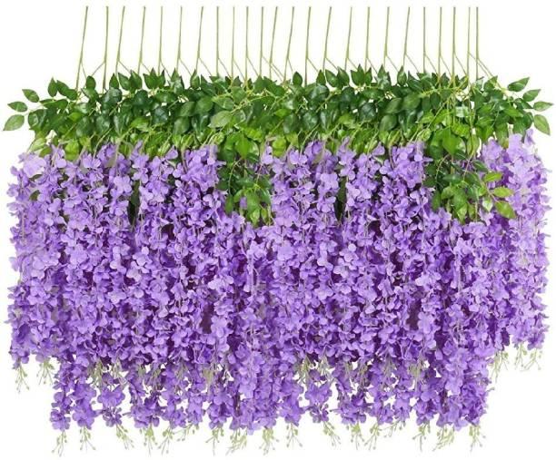 Laddu Gopal Laddu Gopal Artificial Hanging Dense Wisteria Flower Vine (Set of 6 Purple) Purple Westeria Artificial Flower