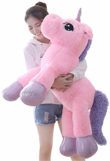 Crispy toys Big Size Funny Unicorn Stuffed Animal Plush for kid's, 85 CM (Pink) 100% Safe for Kids Made in India.  - 85 cm