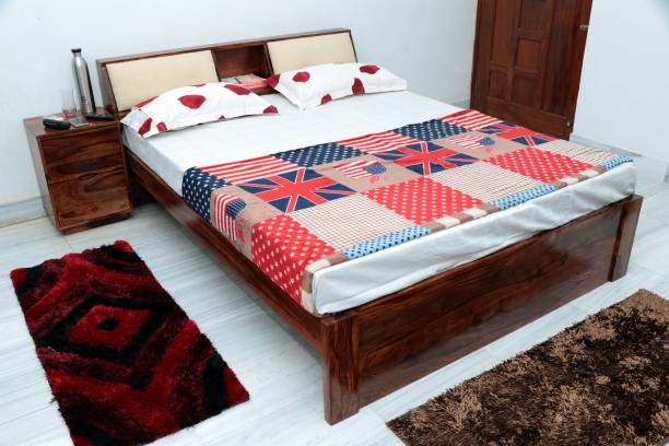 FURINNO Solid Wood King Drawer Bed