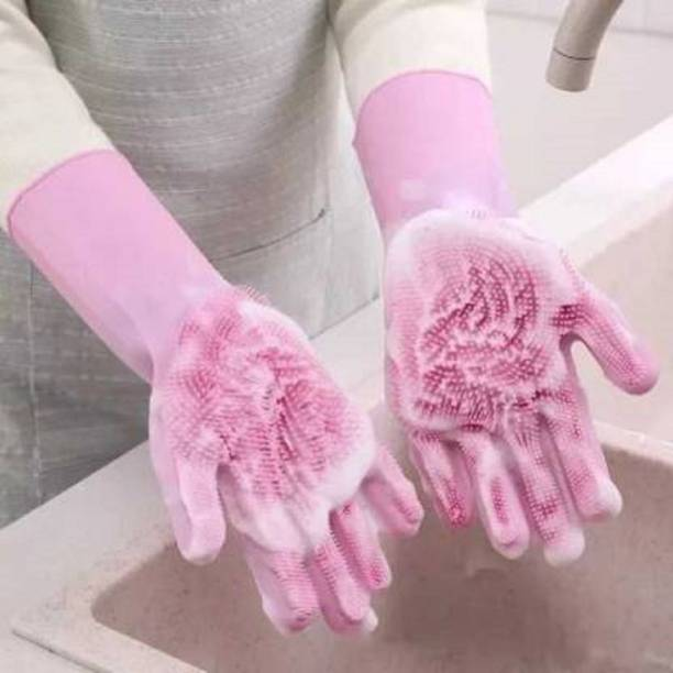 Nikku creation Nikku creation Silicon Dishwashing Hand Gloves for Kitchen,Great for Washing Dish,Car,Bathroom,Heat Resistant Cleaning Gloves,Pet Grooming,Magic Silicone Glove( Wet and Dry Glove Set