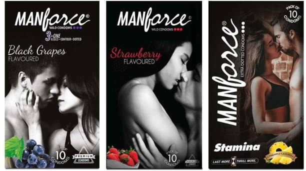 MANFORCE Combo Pack (Strawberry,Black Grapes & Pineapple Flavoured) Condom