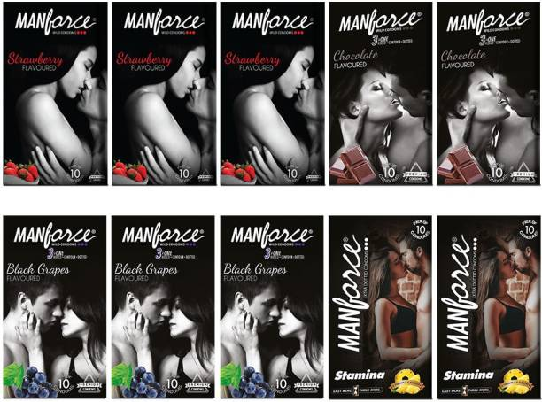 MANFORCE Combo Pack (Strawberry,Black Grapes,Chocolate & Pineapple Flavoured) Condom